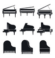 music grand piano icons set simple style vector image vector image