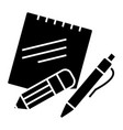 notes with pen and pencil icon vector image vector image