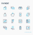 payment thin line icons set vector image vector image