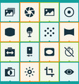 photo icons set with vignette smartphone wide vector image