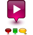 Play speech comic icons vector image vector image