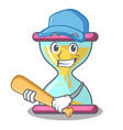 playing baseball character hourglass concept for vector image