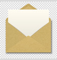 realistic brown craft envelope with white vector image