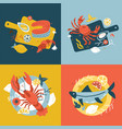 seafood collection set hand-drawn isolated vector image vector image