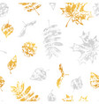 seamless pattern with printed leaves vector image vector image