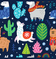 seamless winter pattern with cute llamas or vector image vector image