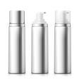 set - 3d realistic silver foam bottles vector image vector image