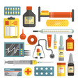 set hospital and medical icons in flat vector image vector image