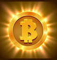 shiny golden bitcoin isolated on white blockchain vector image vector image