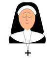 sleepy nun on white background vector image vector image