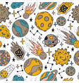 space planets pattern cute hand drawn planets vector image