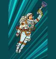 superhero woman astronaut paratrooper with blaster vector image