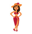 tanned brunette woman in maroon swimsuit and straw vector image vector image