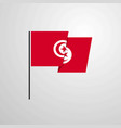 tunisia waving flag design background vector image vector image