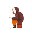 warmly dressed man fishing in a frozen river vector image vector image