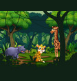 wild animals in a tropical jungle rainforest backg vector image vector image