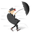 windy and rainy day and the man isolated vector image vector image