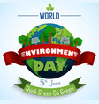 world environment day 5th june with red and green vector image vector image