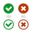 yes sign and no icon set vector image vector image