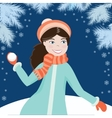 Girl with snowball4 vector image