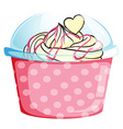 A sweet cupcake inside the pink container vector image vector image