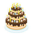 beautiful sweet cake with candles vector image