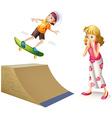 Boy skateboarding on wooden ramp vector image vector image