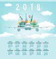 calendar for 2018 with famous world landmarks vector image vector image