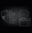 camera on black vector image vector image