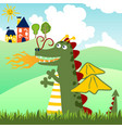 cartoon funny dragon with small castle vector image