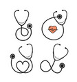 cartoon silhouette black stethoscope with heart vector image