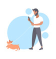 casual man walking with dog bearded guy using vector image
