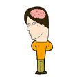 comic cartoon man with big brain vector image
