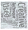 creative thinking techniques Word Cloud Concept vector image vector image