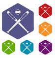 crossed baseball bats and ball icons set hexagon vector image vector image