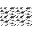 Dinosaurs black silhouettes on white background vector image vector image