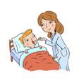doctor examines sick boy lying in bed vector image