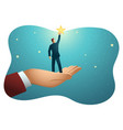 giant hand helping a businessman to reach out vector image vector image