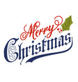 hand lettering merry christmas message vector image