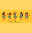 hawaiian hula dancers young pretty woman poster vector image vector image