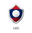 laos flag on metal shiny shield vector image