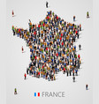 large group of people in form of france map vector image vector image
