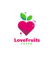 logo love fruit simple mascot colorful style vector image