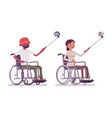 male and female young wheelchair user taking vector image vector image