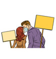 man and woman couple protesting ecology isolate vector image vector image