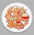 merry christmas various gingerbreads on white vector image vector image
