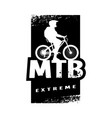 mtb extreme and cyclist silhouette banner t vector image vector image