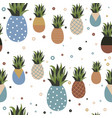 retro pineapple fruit seamless pattern background vector image vector image