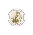 round emblem with hand drawn himantalia elongata vector image vector image