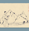 Samurai and mountains in the background vector image